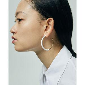 Jenny Bird Lola Hoop Earrings Gold White